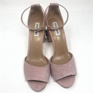 Steve Madden sz 10 pink suede ankle strap shoes